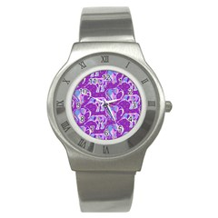 Cute Violet Elephants Pattern Stainless Steel Watch
