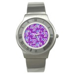 Cute Violet Elephants Pattern Stainless Steel Watch Front