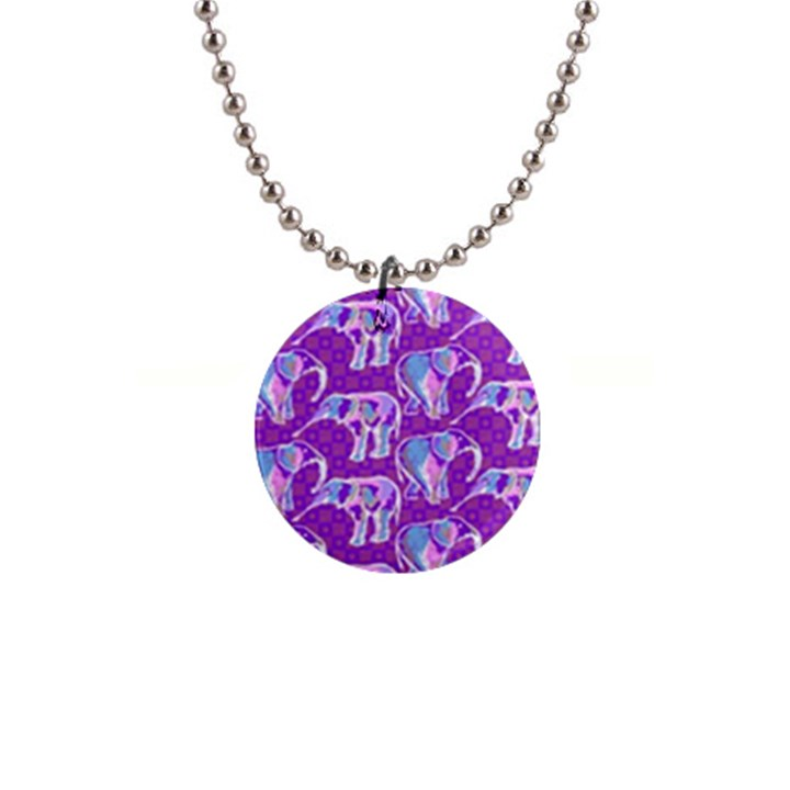 Cute Violet Elephants Pattern Button Necklaces