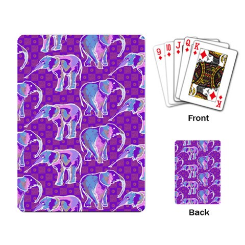 Cute Violet Elephants Pattern Playing Card