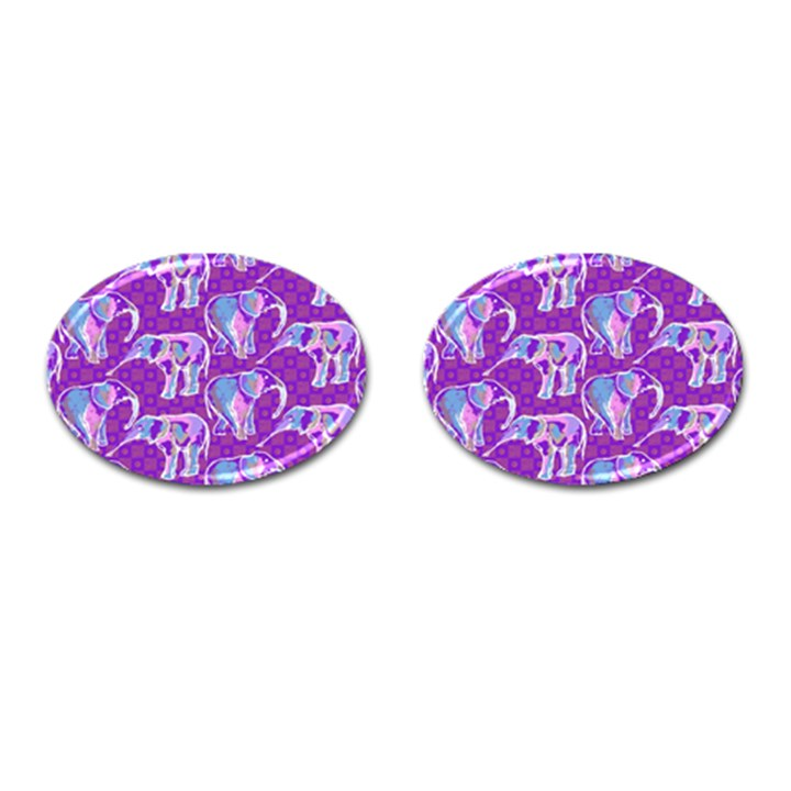 Cute Violet Elephants Pattern Cufflinks (Oval)