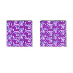 Cute Violet Elephants Pattern Cufflinks (square)
