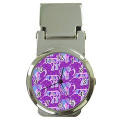 Cute Violet Elephants Pattern Money Clip Watches