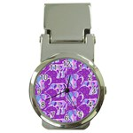 Cute Violet Elephants Pattern Money Clip Watches Front