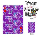 Cute Violet Elephants Pattern Playing Cards 54 Designs  Front - Heart6