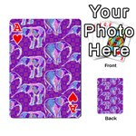 Cute Violet Elephants Pattern Playing Cards 54 Designs  Front - HeartA