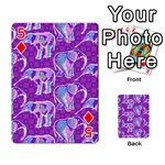 Cute Violet Elephants Pattern Playing Cards 54 Designs  Front - Diamond5