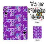 Cute Violet Elephants Pattern Playing Cards 54 Designs  Front - Spade5