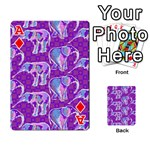Cute Violet Elephants Pattern Playing Cards 54 Designs  Front - DiamondA