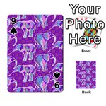 Cute Violet Elephants Pattern Playing Cards 54 Designs  Front - Spade9