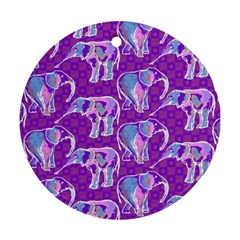 Cute Violet Elephants Pattern Round Ornament (two Sides)