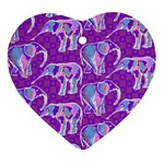 Cute Violet Elephants Pattern Heart Ornament (2 Sides) Back