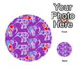 Cute Violet Elephants Pattern Playing Cards 54 (Round)  Front - Heart8