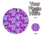 Cute Violet Elephants Pattern Playing Cards 54 (Round)  Front - Spade7