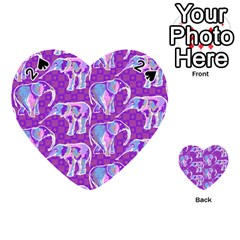 Cute Violet Elephants Pattern Playing Cards 54 (heart)