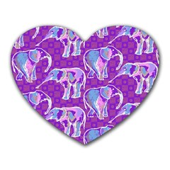 Cute Violet Elephants Pattern Heart Mousepads