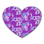 Cute Violet Elephants Pattern Heart Mousepads Front