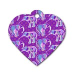 Cute Violet Elephants Pattern Dog Tag Heart (One Side) Front