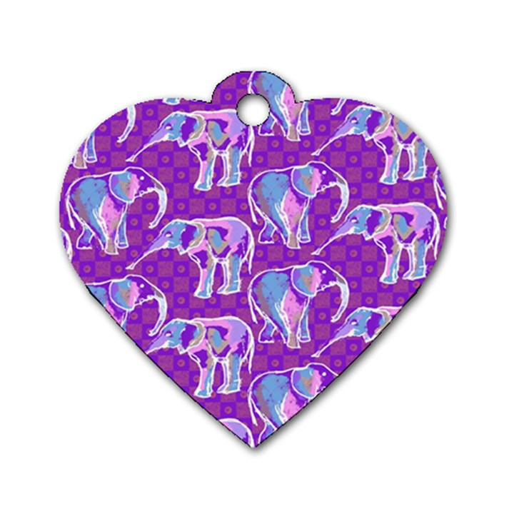 Cute Violet Elephants Pattern Dog Tag Heart (One Side)