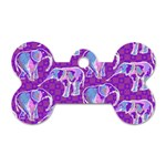 Cute Violet Elephants Pattern Dog Tag Bone (Two Sides) Front