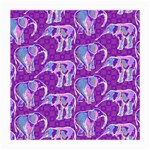 Cute Violet Elephants Pattern Medium Glasses Cloth (2-Side) Front