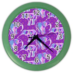 Cute Violet Elephants Pattern Color Wall Clocks