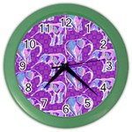 Cute Violet Elephants Pattern Color Wall Clocks Front