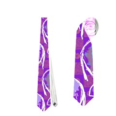 Cute Violet Elephants Pattern Neckties (One Side)
