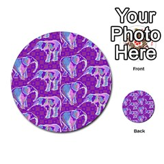 Cute Violet Elephants Pattern Multi-purpose Cards (Round)