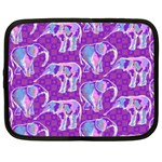 Cute Violet Elephants Pattern Netbook Case (Large) Front