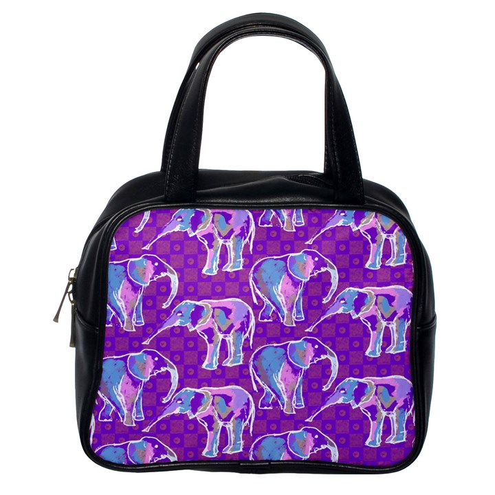 Cute Violet Elephants Pattern Classic Handbags (One Side)