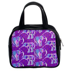 Cute Violet Elephants Pattern Classic Handbags (2 Sides)