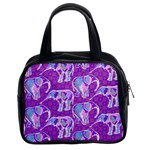 Cute Violet Elephants Pattern Classic Handbags (2 Sides) Front