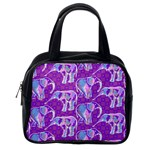 Cute Violet Elephants Pattern Classic Handbags (2 Sides) Back