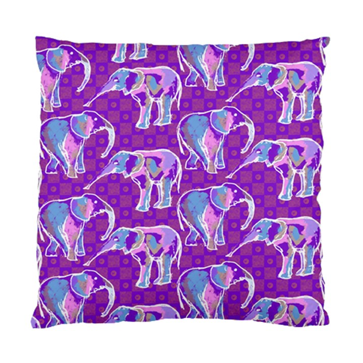 Cute Violet Elephants Pattern Standard Cushion Case (Two Sides)
