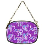 Cute Violet Elephants Pattern Chain Purses (Two Sides)  Front