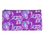 Cute Violet Elephants Pattern Pencil Cases Front