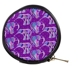 Cute Violet Elephants Pattern Mini Makeup Bags