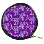 Cute Violet Elephants Pattern Mini Makeup Bags Front