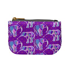 Cute Violet Elephants Pattern Mini Coin Purses