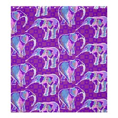 Cute Violet Elephants Pattern Shower Curtain 66  x 72  (Large)