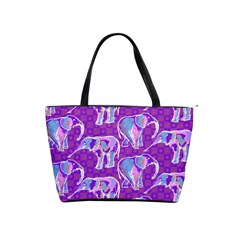 Cute Violet Elephants Pattern Shoulder Handbags
