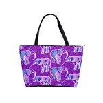 Cute Violet Elephants Pattern Shoulder Handbags Front