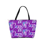 Cute Violet Elephants Pattern Shoulder Handbags Back