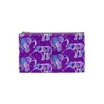 Cute Violet Elephants Pattern Cosmetic Bag (Small)  Front