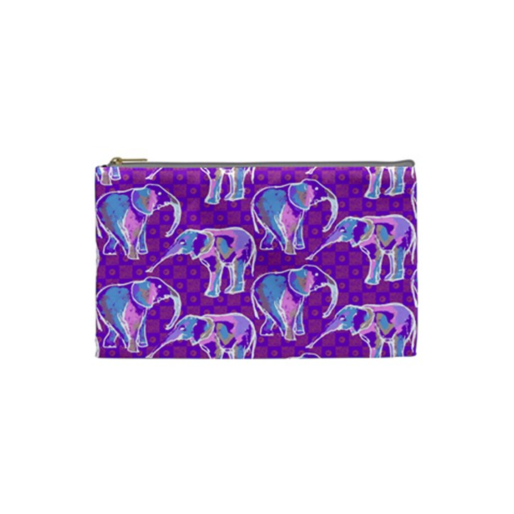 Cute Violet Elephants Pattern Cosmetic Bag (Small)