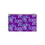 Cute Violet Elephants Pattern Cosmetic Bag (Small)  Back