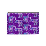 Cute Violet Elephants Pattern Cosmetic Bag (Medium)  Front
