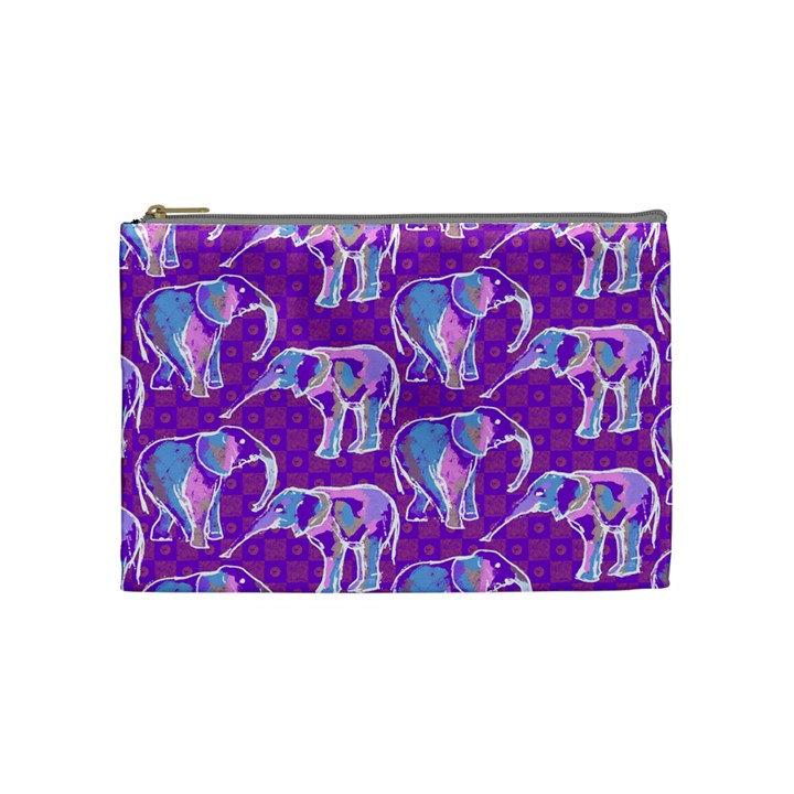 Cute Violet Elephants Pattern Cosmetic Bag (Medium)