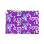 Cute Violet Elephants Pattern Cosmetic Bag (Large)  Front
